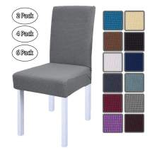 OldPAPA Stretch Chair Covers Removable Washable Dinning Chair Slipcovers Spandex Jacquard Chair Protector Home Decor Cover for Party Banquet 6 Set,Light Grey