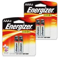 4 Count Energizer Max AAA Batteries - 2 Pack of 2 AAA2 Total of 4 Batteries, The Perfect Choice of Power for All AAA Battery Operated Devices