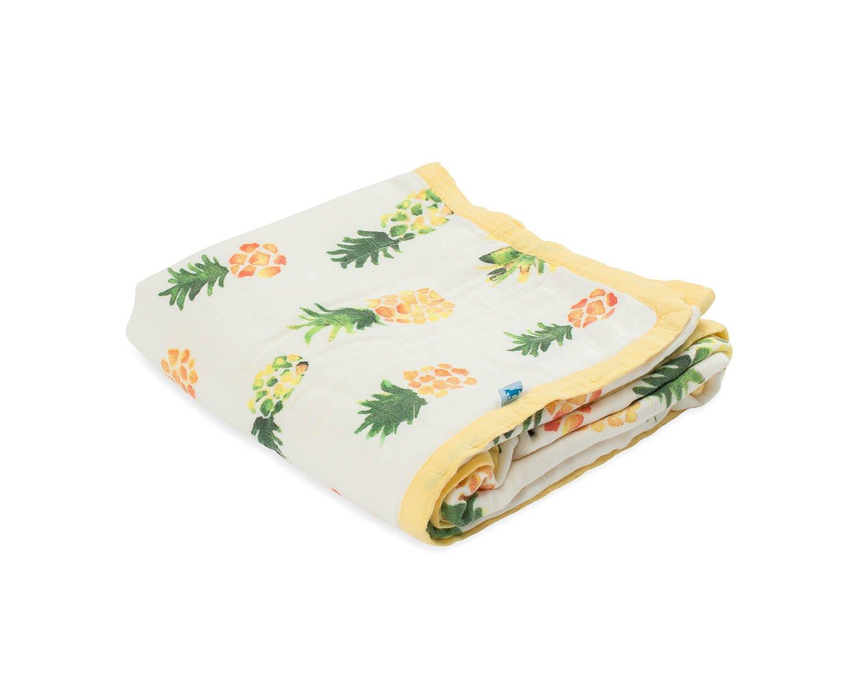Little Unicorn Deluxe Muslin Blanket Quilt - Pineapple, Yellow, Green