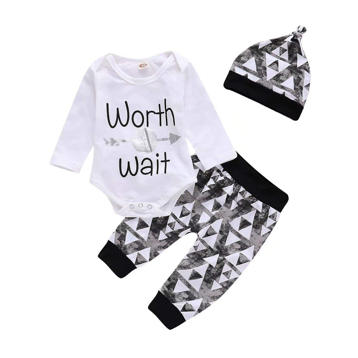 Baby Boy Girl Clothes Romper Outfits 3Pcs Newborn Romper +Pants+Hat Letter Worth Wait Baby Clothes 0-24Months