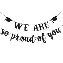 Black Glittery We Are So Proud Of You Banner- 2020 Graduation Party Decorations,Class of 2020 Graduation Decor High School Graduation College Grad Party Decorations Supplies
