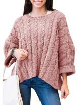 Womens Oversized Sweaters Plus Size Long Sleeve Cable Knit Chunky Pullover Sweater Jumper Tops