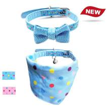 azuza Cat or Small Dog Collars with Removable Bells, 2 Pack Pu Leather Collars with Bowtie and Bandana Set