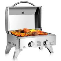 """Giantex Propane Tabletop Gas Grill Stainless Steel Two-Burner BBQ, with Foldable Leg, 20000 BTU, Perfect for Camping, Picnics or Any Outdoor Use, 22"""" x 18"""" x 15"""", Silver"""