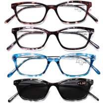 AQWANO 4 Pack Cat Eye Computer Reading Glasses Blue Light Blocking Fashion Designer Stylish Lightweight Thin Frames Sun Readers for Women, 2.5