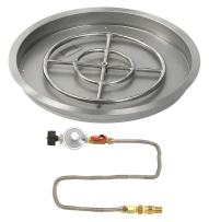 """American Fireglass 25"""" Round Stainless Steel Drop-in Pan with Match Light Kit (18"""" Fire Pit Ring) Propane"""