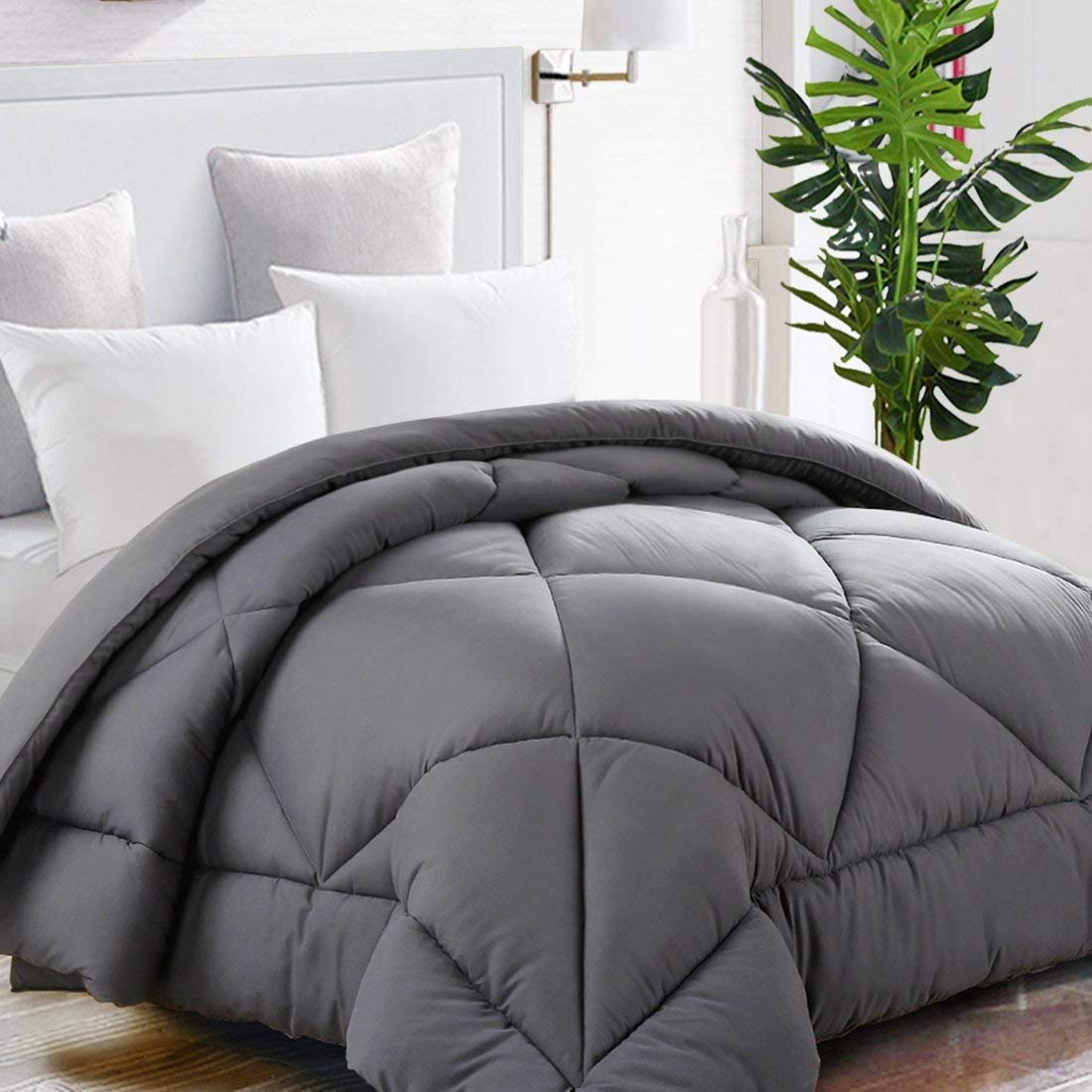 TEKAMON All Season Twin Comforter Soft Quilted Down Alternative Duvet Insert with Corner Tabs, Luxury Fluffy Reversible Summer Cool Hotel Collection,Charcoal Grey,64 x 88 inches