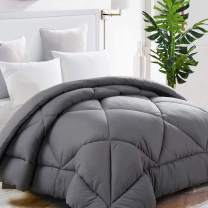 TEKAMON All Season Full Comforter Soft Quilted Down Alternative Duvet Insert with Corner Tabs, Fluffy Reversible Summer Cool Hotel Collection, Charcoal Grey, 82 x 86 inches