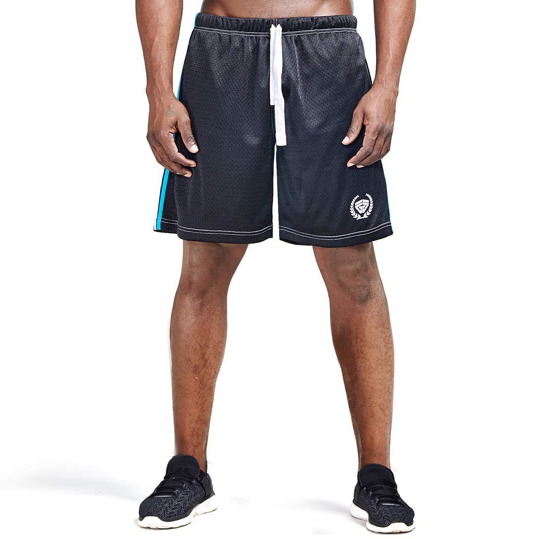 AIMPACT Mens Gym Workout Athletic Short Mesh Boxing Training Shorts for Men(Black L)