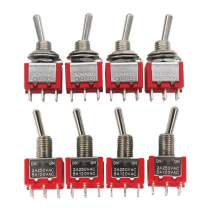 mxuteuk 8pcs MTS-202 6 Terminal 2 Position DPDT Mini Miniature Toggle Switch Car Dash Dashboard ON/ON 5A 125V 2A 250V