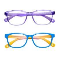 AHXLL Kids Blue Light Blocking Glasses 2 Pack, Anti Eyestrain & UV Protection, Computer Gaming TV Phone Glasses for Boys Girls Age 3-12 (Blue Yellow+ Transparent Purple)