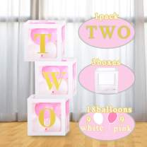 2nd Birthday Decorations for Girl Baby Shower Box Party Decorations Balloons Box Centerpiece for Girls Boys 2 Year Old Birthday Party Decorations