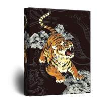 wall26 - Canvas Wall Art - Drawing of Tiger on Black Background - Giclee Print Gallery Wrap Modern Home Decor Ready to Hang - 24x36 inches