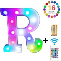 LED Marquee Letter Lights 16 Colors Changing Alphabet Sign Light Up Marquee Number Lights Battery Powered Plastic Letter for Night Home Bedroom Birthday Party Christmas Bar Decor (R)