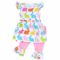 Unique Baby Girls Patterned Easter Bunny Easter Outfit