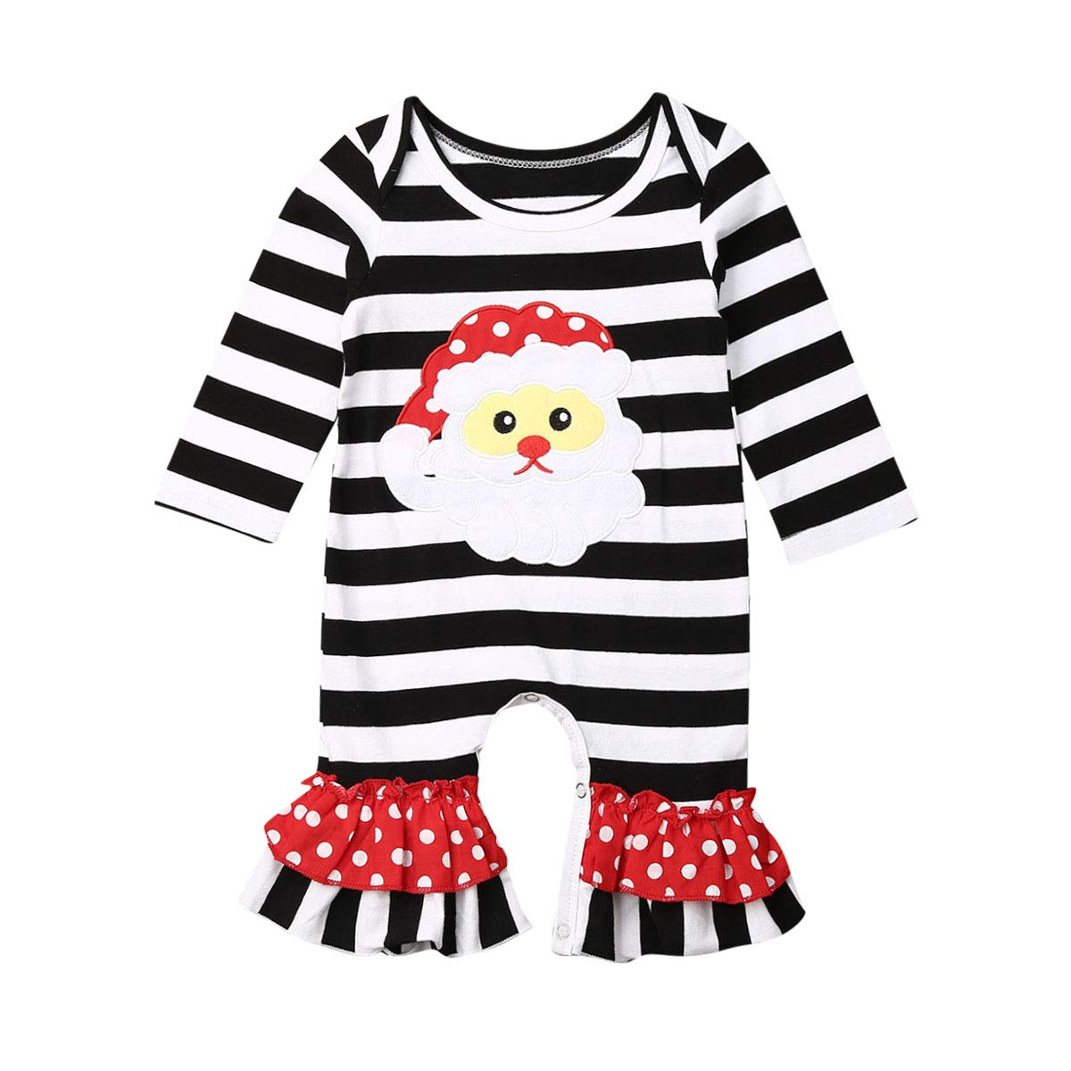 Baby Girl Christmas Outfit, Newborn Halloween Long Sleeve Striped Romper, One Piece Icing Ruffle Jumpsuit