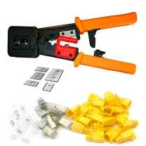 Helovmine RJ45 Crimping Tool Professional Heavy Duty Crimp Tool 6P 8P Multi-function Cable Cutter Pass Through Crimper Ratcheting Hand Tools-Orange