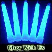 "Glow Sticks Bulk Wholesale, 25 6"" Industrial Grade Blue Light Sticks. Bright Color, Glow 12-14 Hrs, Safety Glow Stick with 3-Year Shelf Life, GlowWithUs Brand"