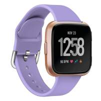 MEFEO Bands Compatible with Fitbit Versa, Soft Silicone Sport Band Breathable Wristband Replacement Strap for Fitbit Versa/Versa 2/Versa Lite/Special Edition Women Men (Large, Light Purple)