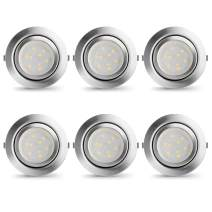 LAMPAOUS Under Cabinet Lighting Dimmable LED Recessed Ceiling Light 2W 4000K 320lm Mini Slim Downlight Panel Light for Kitchen Display Closet Cupboard Counter Lighting,6 Pack