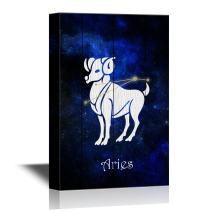 wall26 - 12 Zodiac Signs Constellation Canvas Wall Art - Aries - Gallery Wrap Modern Home Decor | Ready to Hang - 16x24 inches