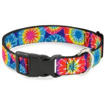 Buckle-Down Dog Collar Plastic Clip 70s Tie Dye Available in Adjustable Sizes for Small Medium Large Dogs
