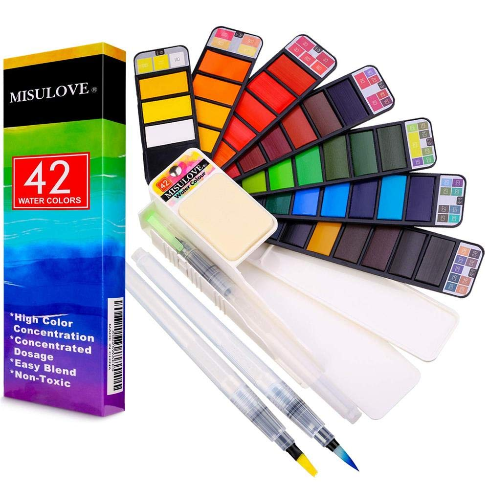 Watercolor Paint Set - 42 Premium Vivid Colors, with Bonus Water Brush Pen - Foldable Palletes Travel Pocket Field Sketch Kit, Perfect for Artists, Students, Beginners Outdoor Painting