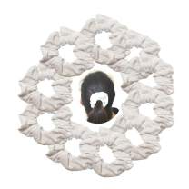 White Cotton Scrunchies 10 Pack Elastic Scrunchy Hair Tie for DIY Dye Solid Hair Bands Pony Tail Holder Women Girls Teens