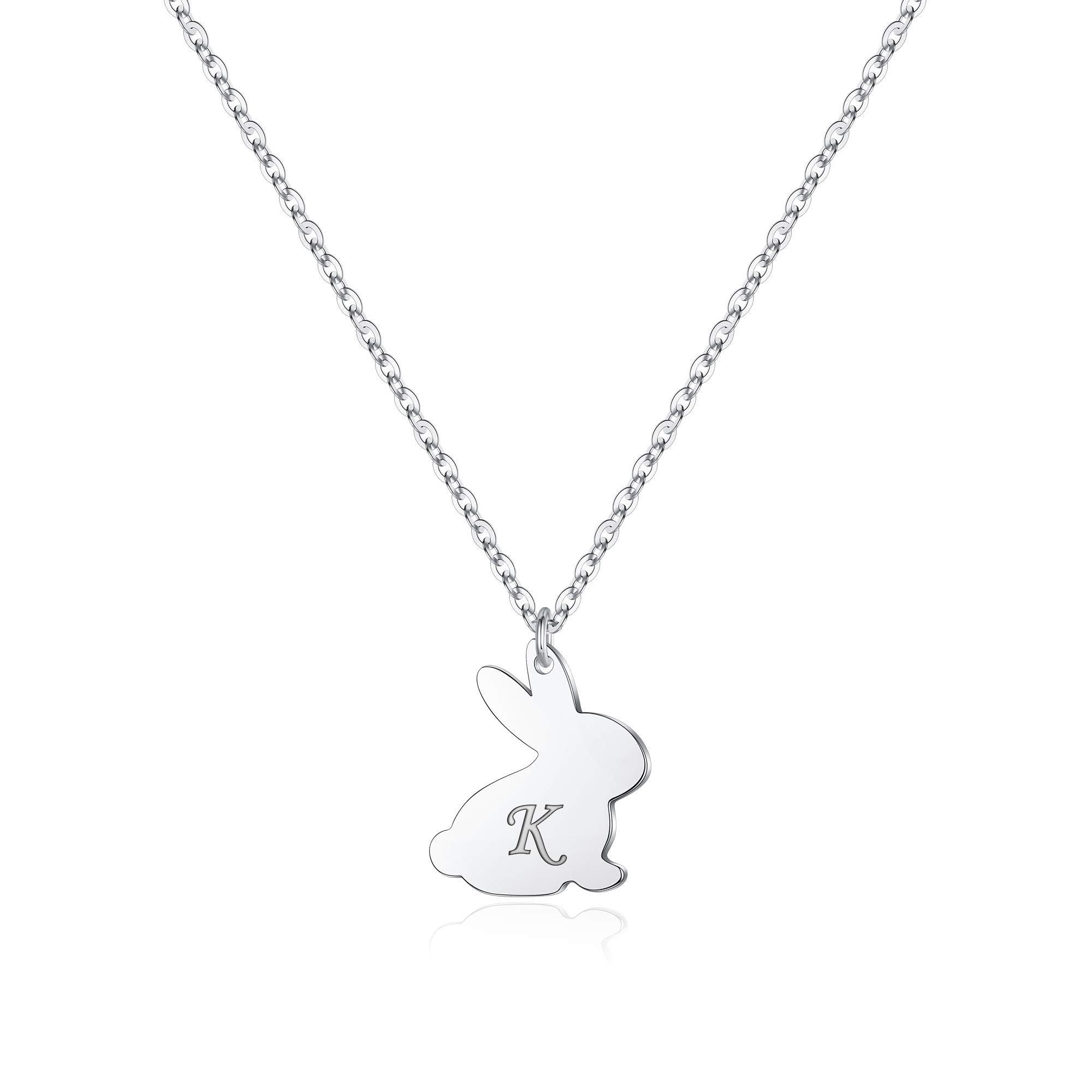 Yoosteel Easter Bunny Gifts for Kids, 14K Rose Gold Plated Dainty Heart Initial Necklace Engraved Love Heart Cute Animal Bunny Easter Gifts for Kids Girls Jewelry Daughter Toddlers