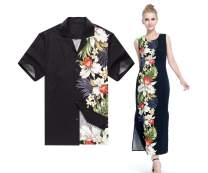 Made in Hawaii Couple Matching Luau Aloha Shirt Maxi Tank Dress Side Orchid Black