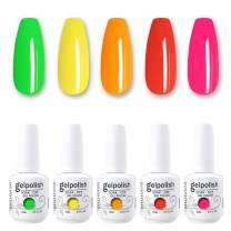 MOIBASE 5×15ml Varnish Soak Off UV Led Nail Gel Polish Nail Art Salon Neon Gel Polish Set of 5 Color D029