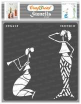 CrafTreat Stencils for Painting on Wood, Canvas, Paper, Fabric, Floor, Wall and Tile - Enjoying Music - 6x6 Inches - Reusable DIY Art and Craft Stencils - Woman Stencil Template for Painting on Wood