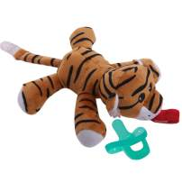 Tiger Pacifier Holder - Stuffed Animal Binky, Soft Plush Soothie Toy w/Detachable Silicone Baby Dummy, Paci Clip Leash & Squeaky Sound Teether, Safe & Soothing Baby Shower Gift for Boys & Girls