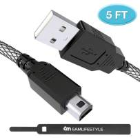 6amLifestyle 3ds Charger Cable, 5FT High Speed USB Power Charger Charging Cord for Nintendo 3DS XL / 3DS/ 2DS / DSi/DSi XL (Black White)