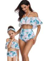 Women Ruffle Swimwear Kids Children Toddler Bikini Bathing Suit Mommy and Me Matching Family Swimsuit Beachwear Sets
