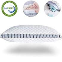 LIANLAM Memory Foam Pillow for Sleeping Shredded Bed Bamboo Cooling Pillow with Adjustable Loft 4D Design Hypoallergenic Washable Removable Derived Rayon Zip Cove (Standard)