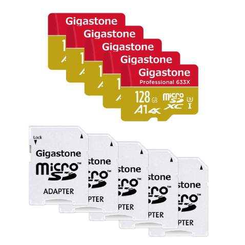 Gigastone 128GB 5-Pack Micro SD Card, Professional, A1 4K, 4K Video Recording, Nintendo Switch Compatible, R/W up to 100/50MB/s, Micro SDXC UHS-I Class 10