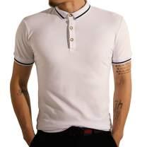 LOGEEYAR Mens Fashion Short-Sleeve Casual Slim Fit Basic T-Shirts Cotton Clothes Stripe Pique Polo Shirt