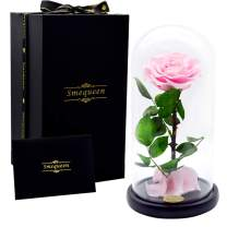 Smequeen Handmade Preserved Rose Never Withered Roses Flower in Glass Dome, Gift for Valentine's Day Anniversary Birthday (Pink)