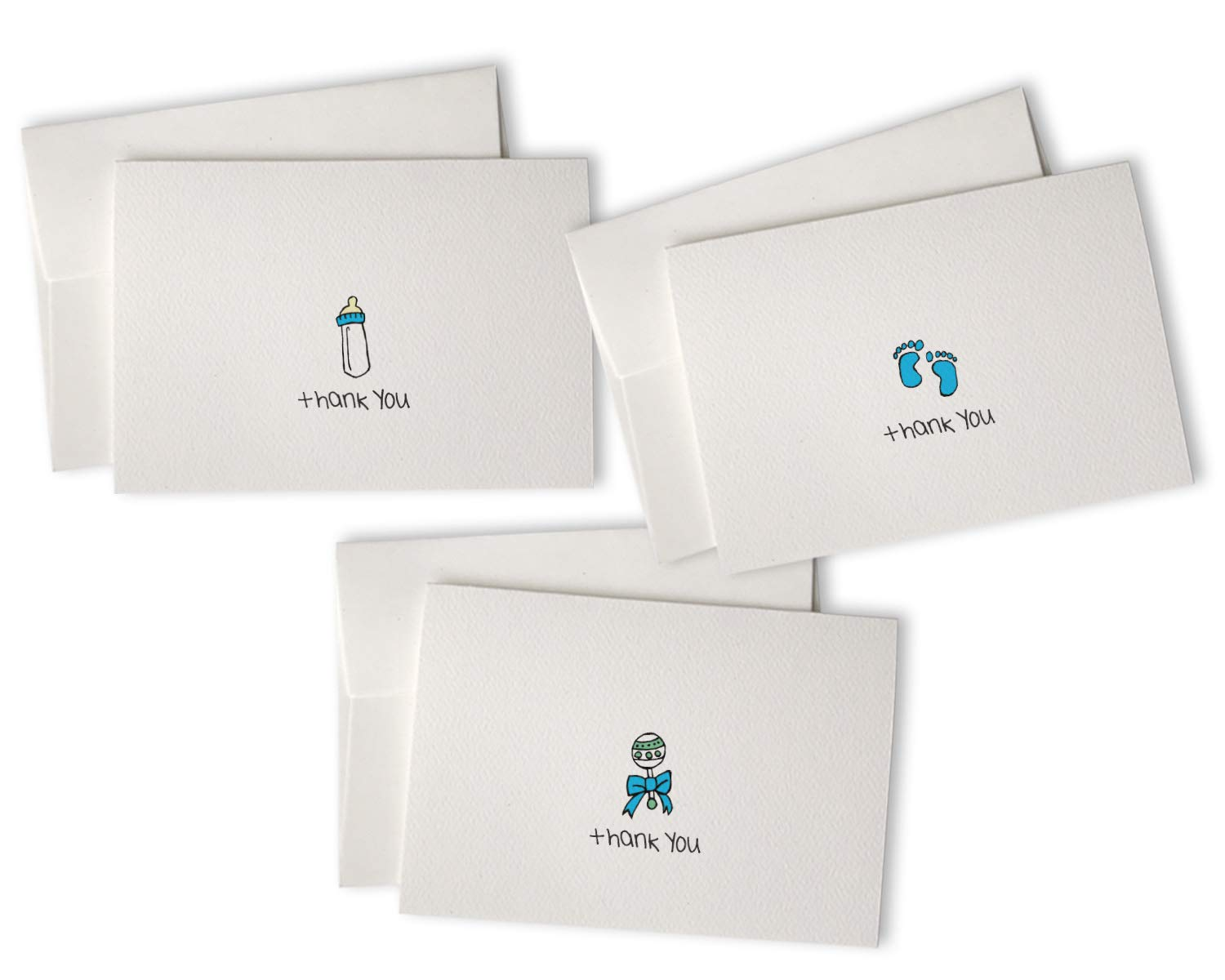 Blue Baby Thank You Cards with Envelopes - Set of 48 Cards & Envelopes - Perfect for Baby Showers & Baby Boy Gifts