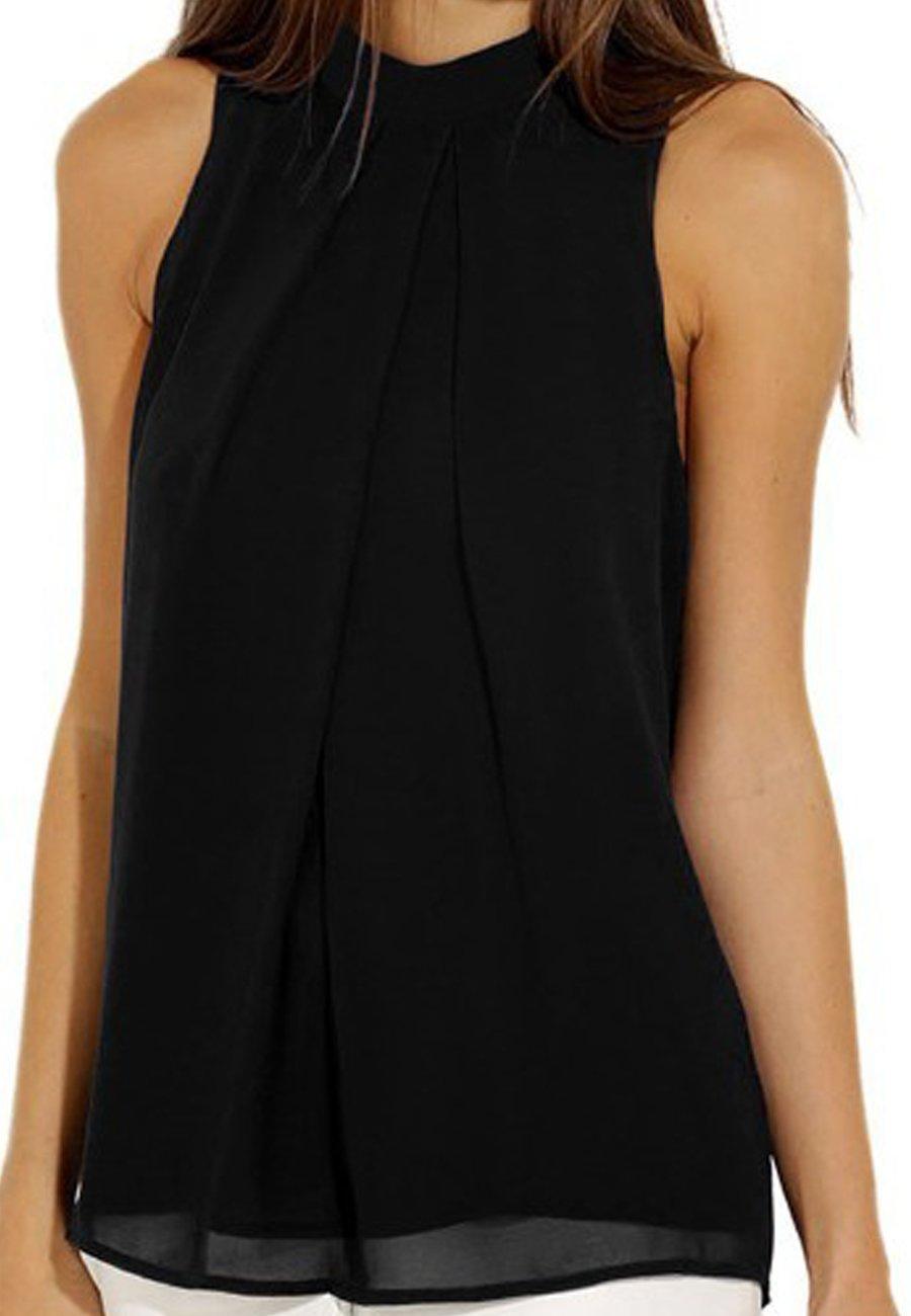 OMZIN Women's Shirt Casual Chiffon Blouses Sleeveless Summer Vest Tops for Women