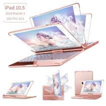 Keyboard Case Compatible iPad Air 3 2019,iPad Pro 10.5 inch 2017, 360 Degree Rotatable Auto Sleep Wake Smart Hard Shell 7 Colors Backlit Wireless Bluetooth Keyboard Case F360S (Rose Gold)
