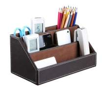 Bargain Crusader Brown PU Leather Remote Controller Holder TV Guide CD DVD Controller Organizer Desk Caddy Stationery Organizer Caddy Stationery Holder (L:9.45 x W:5.3 x H:4.3/1.6 inches, Brown)