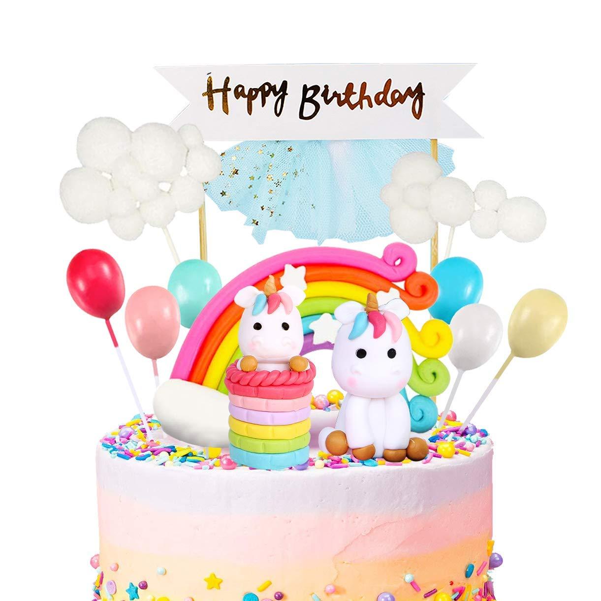 MOVINPE Unicorn Cake Topper Kit Cloud Rainbow Balloon Happy Birthday Banner Cake Decoration Pack of 12 For Boys Girls Kids Birthday