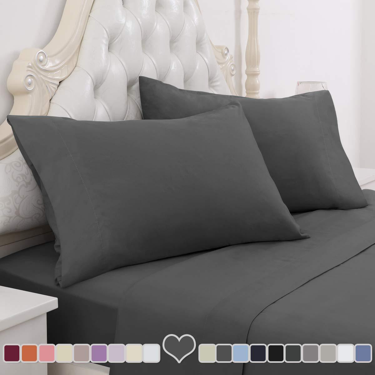 HOMEIDEAS 4 Piece Bed Sheet Set (Queen, Deep Grey) 100% Brushed Microfiber 1800 Bedding Sheets - Deep Pockets