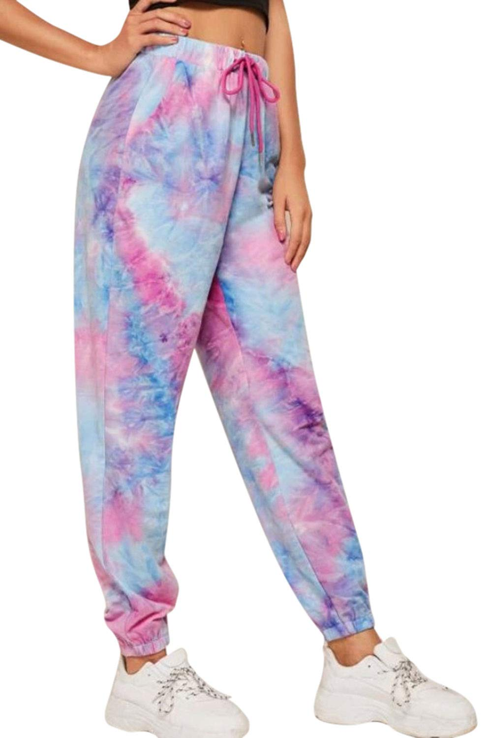 Pink Queen Women's Tie Dye Lounge Pants Active Workout Drawstring Joggers Sweatpants with Pocket