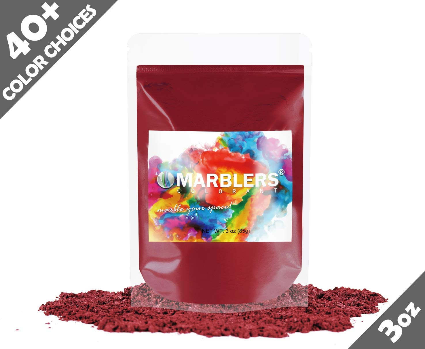 Marblers Powder Colorant 3oz (85g) [Deep Red] | Pearlescent Pigment | Tint | Pure Mica Powder for Resin | Dye | Non-Toxic | Great for Epoxy, Soap, Nail Polish, Cosmetics and Bath Bombs