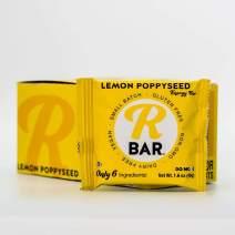 RBar Whole Food Plant Based Lemon Poppyseed Energy Bar - Soft Dairy & Gluten Free Snacks, Vegan Protein Bar Tart - 6 Healthy Ingredients (10 Pack)
