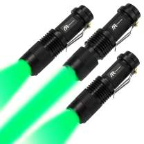 AR happy online 3 Pack Green Light LED Flashlight, 3 Light Modes, Zoomable, Tactical Torch with Clip, Adjustable Focus Light for Hunting, Climbing, Astronomy Observation, Night Vision (Green Light)