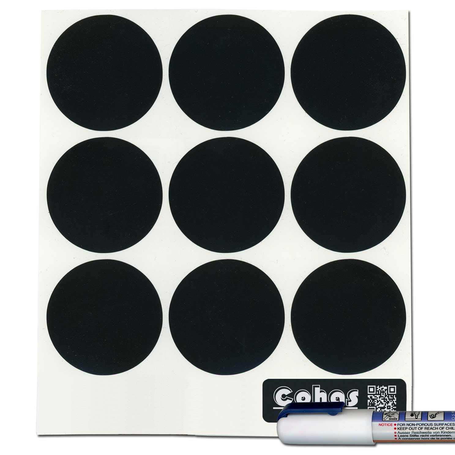 Cohas Chalkboard Labels in 2 Inch Round Shape for Canning Jars Includes Liquid Chalk Marker and 27 Labels, Extra Fine Tip, White Marker